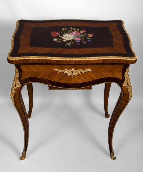 TAHAN Manufactory and Julien-Nicolas RIVART (1802-1867) - Sewing table with flowers bouquet In porcelain marquetry and gilt bronze ornaments-1