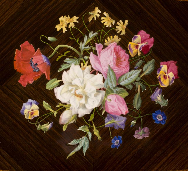 TAHAN Manufactory and Julien-Nicolas RIVART (1802-1867) - Sewing table with flowers bouquet In porcelain marquetry and gilt bronze ornaments-2