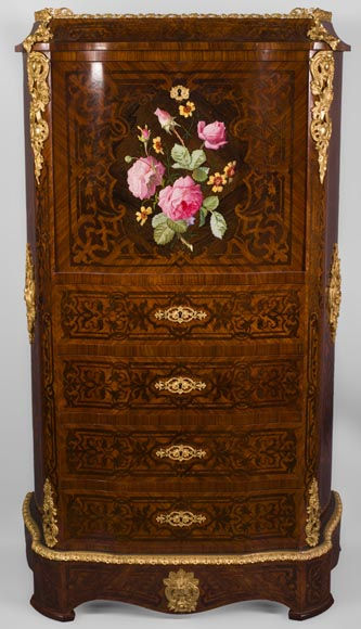 Julien-Nicolas RIVART (1802-1867) - Chiffonier Secretary desk  in wood and porcelain marquetry Decorated of blooming roses-0