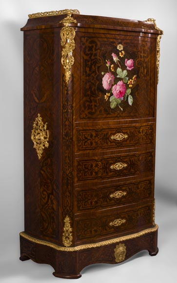Julien-Nicolas RIVART (1802-1867) - Chiffonier Secretary desk  in wood and porcelain marquetry Decorated of blooming roses-1