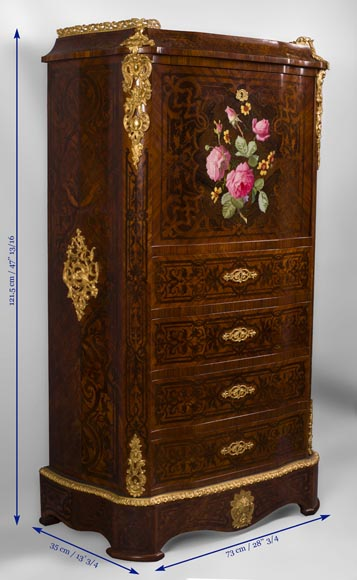 Julien-Nicolas RIVART (1802-1867) - Chiffonier Secretary desk  in wood and porcelain marquetry Decorated of blooming roses-6