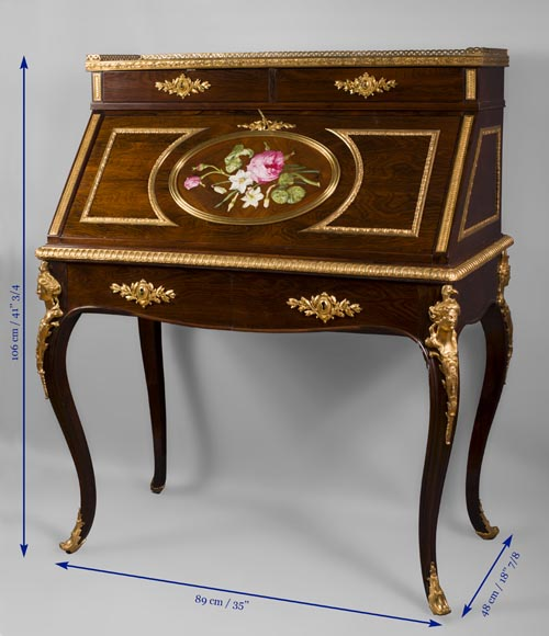 Julien-Nicolas RIVART (1802-1867) - Writing desk with gilt bronze espagnolettes and porcelain marquetry decoration-6