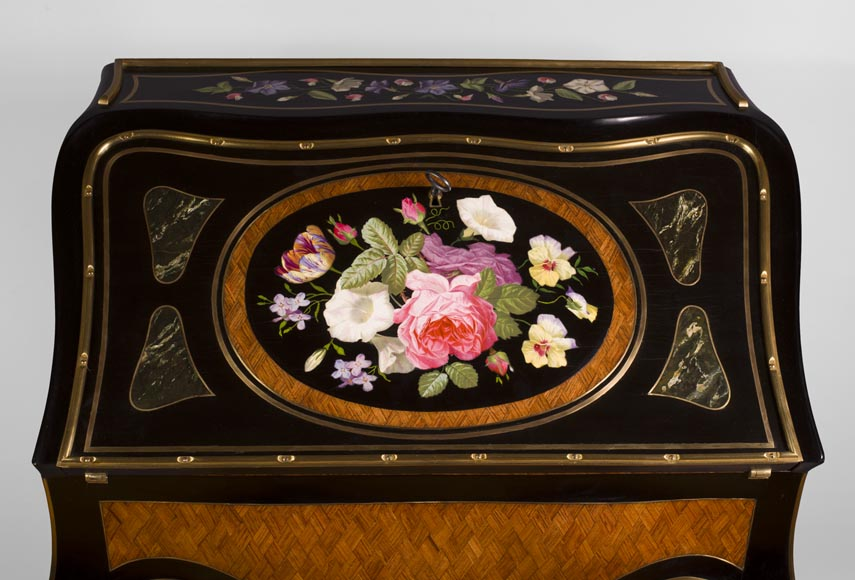 Julien-Nicolas RIVART (1802-1867) - Curved writing desk with lozenges marquetry And flowers bouquet in porcelain inlay-2