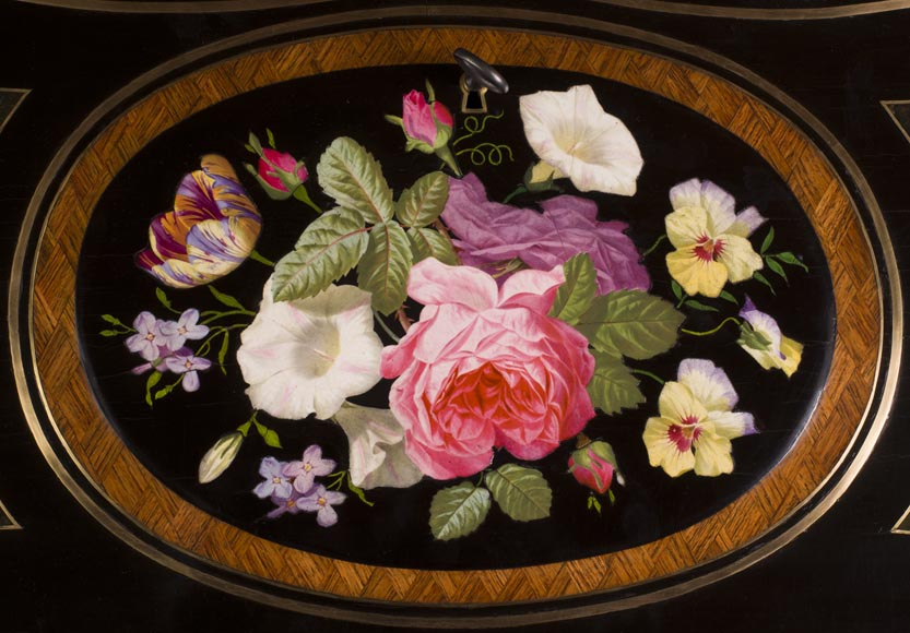 Julien-Nicolas RIVART (1802-1867) - Curved writing desk with lozenges marquetry And flowers bouquet in porcelain inlay-3