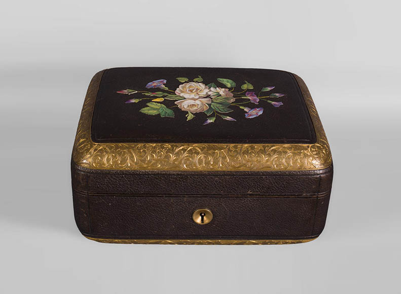 Julien-Nicolas RIVART (1802-1867) - Leather sheathed jewelry box decorated of porcelain marquetry-0