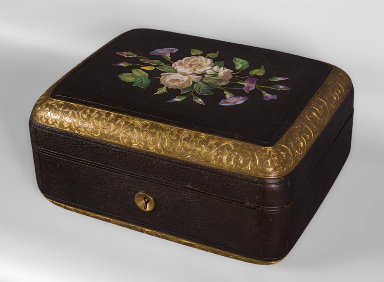 Julien-Nicolas RIVART (1802-1867) - Leather sheathed jewelry box decorated of porcelain marquetry-1