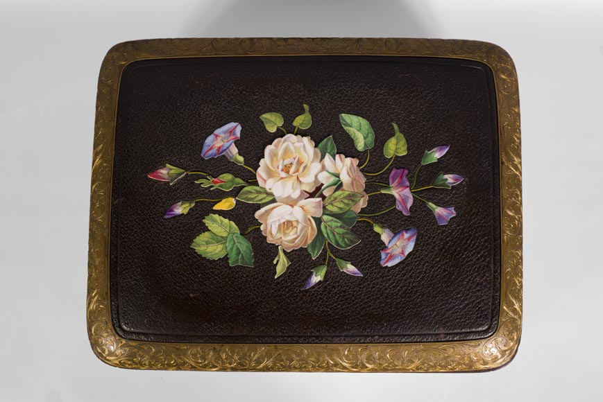 Julien-Nicolas RIVART (1802-1867) - Leather sheathed jewelry box decorated of porcelain marquetry-2