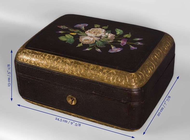 Julien-Nicolas RIVART (1802-1867) - Leather sheathed jewelry box decorated of porcelain marquetry-4