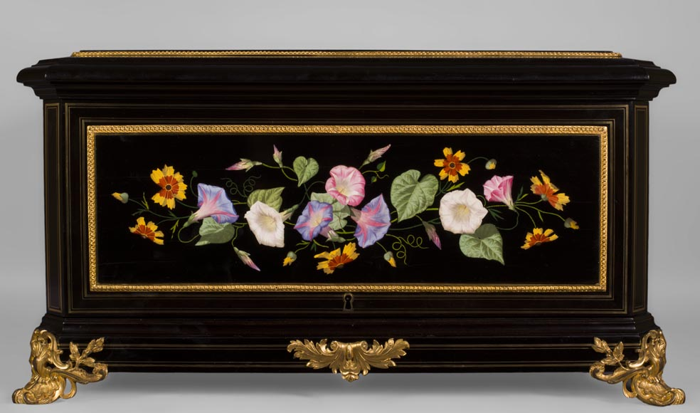 Julien-Nicolas RIVART (1802-1867) - Exceptional Jewel Case decorated with porcelain marquetry from Elsa Schiaparelli's collection-2