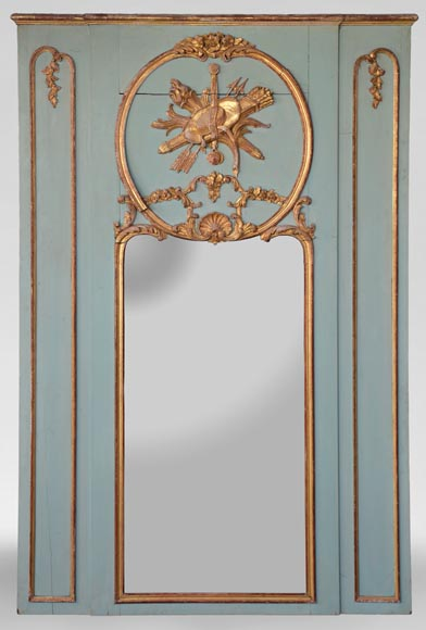 Beautiful antique 19th-century overmantel mirror, carved elements from the Louis XV period, in carved and gilt wood-0