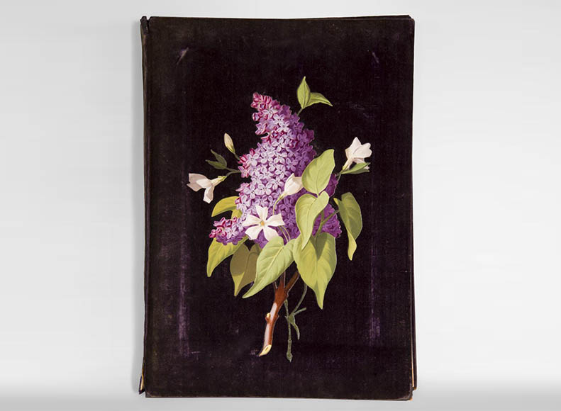 Julien-Nicolas RIVART (1802-1867) - Purple velvet Folder decorated of porcelain marquetry-0