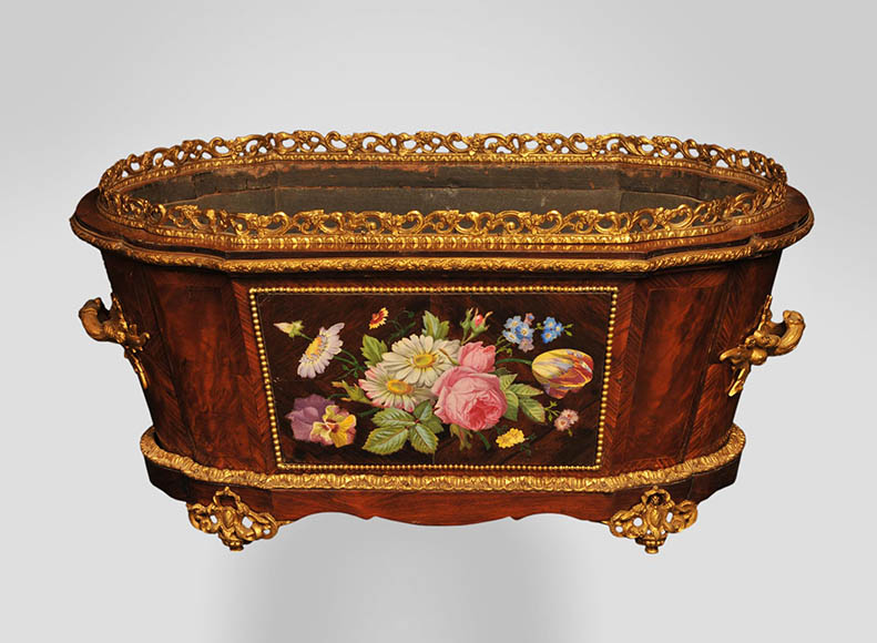 Julien-Nicolas RIVART (1802-1867) - Elegant planter with a decor of Porcelain marquetry - Reference 10717