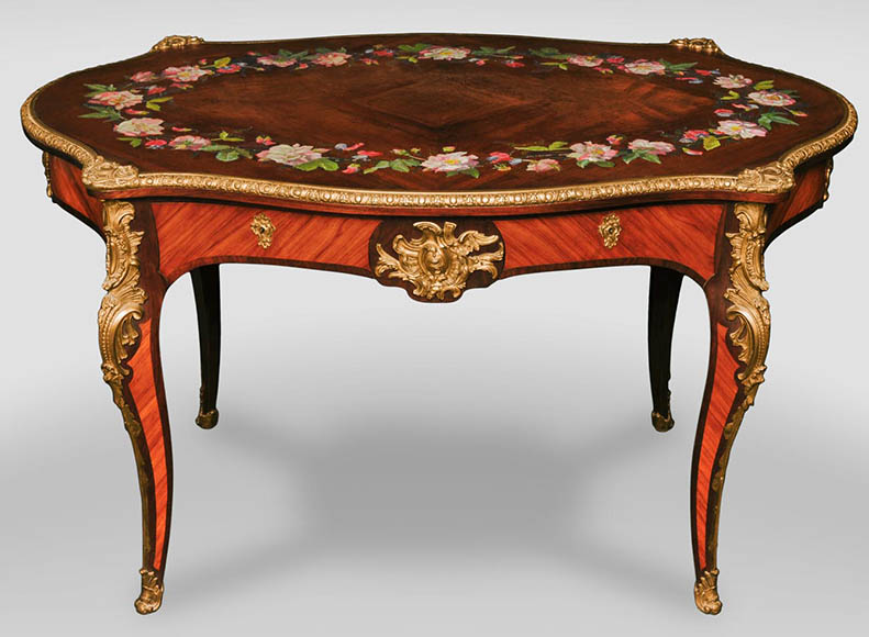 Julien-Nicolas RIVART (1802-1867) - Louis XV style Rosewood Table with decor of porcelain marquetry - Reference 10718