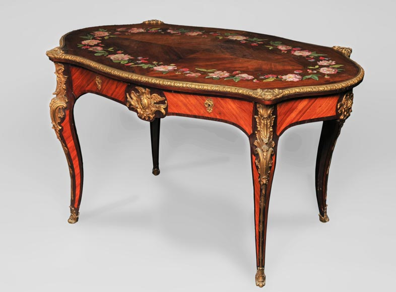 Julien-Nicolas RIVART (1802-1867) - Louis XV style Rosewood Table with decor of porcelain marquetry-1
