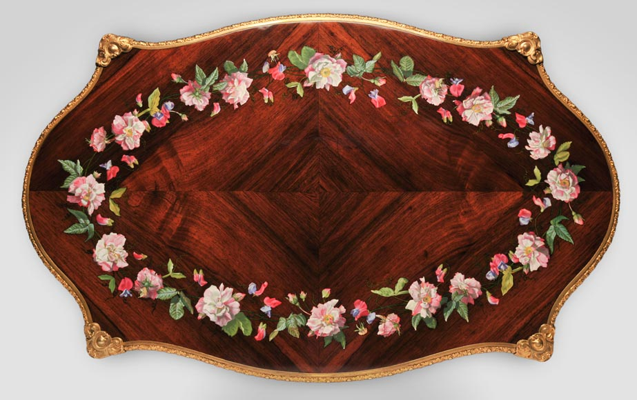 Julien-Nicolas RIVART (1802-1867) - Louis XV style Rosewood Table with decor of porcelain marquetry-2