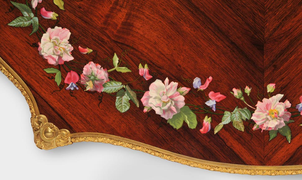 Julien-Nicolas RIVART (1802-1867) - Louis XV style Rosewood Table with decor of porcelain marquetry-4