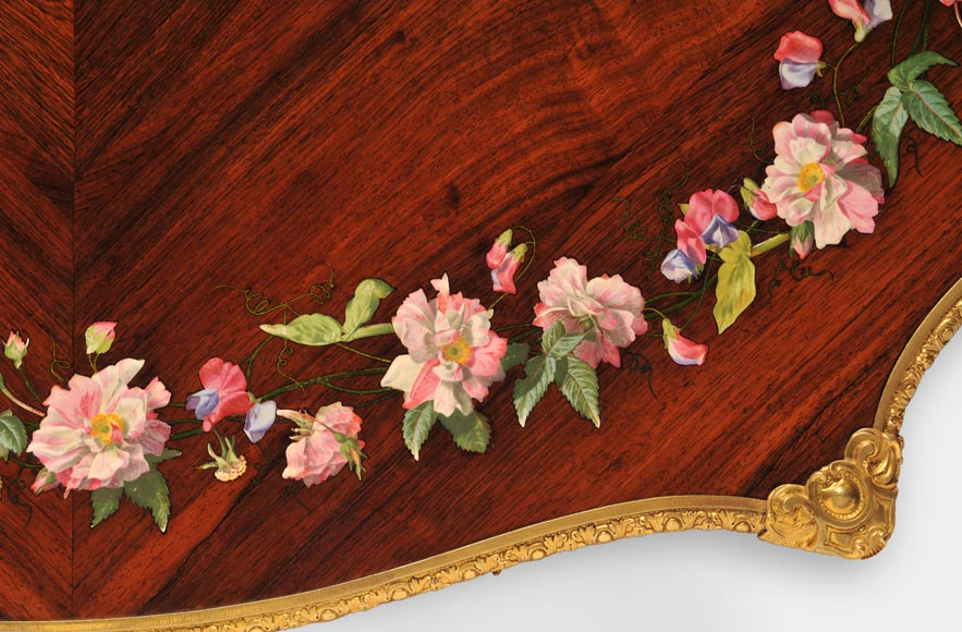 Julien-Nicolas RIVART (1802-1867) - Louis XV style Rosewood Table with decor of porcelain marquetry-5