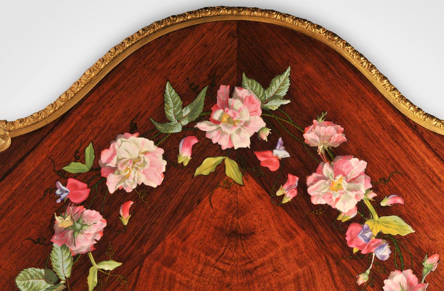 Julien-Nicolas RIVART (1802-1867) - Louis XV style Rosewood Table with decor of porcelain marquetry-6