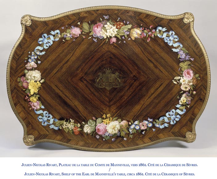 Julien-Nicolas RIVART (1802-1867) - Louis XV style Rosewood Table with decor of porcelain marquetry-7