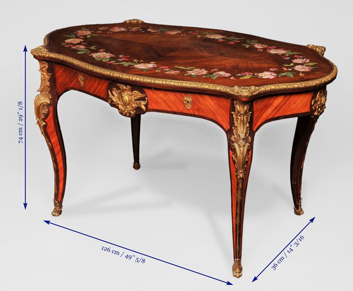 Julien-Nicolas RIVART (1802-1867) - Louis XV style Rosewood Table with decor of porcelain marquetry-8