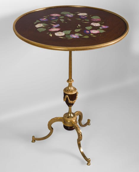 TAHAN Manufactory and Julien-Nicolas RIVART (1802-1867) - Graceful tip-up pedestal table decorated of morning glories in porcelain marquetry-0