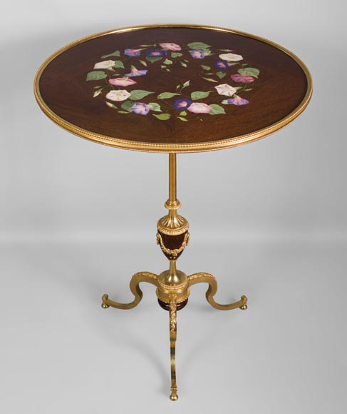 TAHAN Manufactory and Julien-Nicolas RIVART (1802-1867) - Graceful tip-up pedestal table decorated of morning glories in porcelain marquetry-1