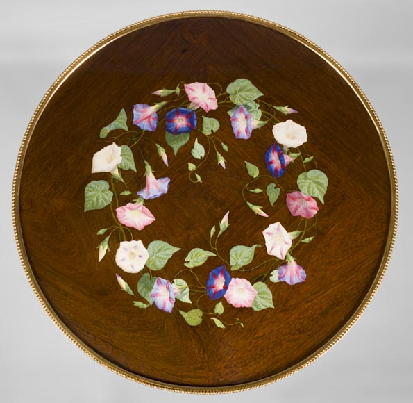TAHAN Manufactory and Julien-Nicolas RIVART (1802-1867) - Graceful tip-up pedestal table decorated of morning glories in porcelain marquetry-2