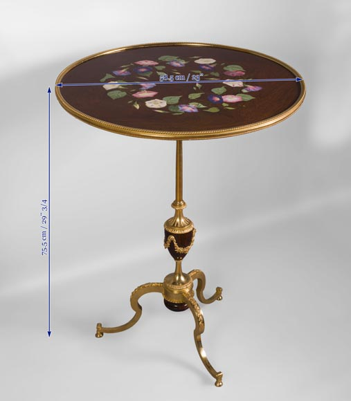 TAHAN Manufactory and Julien-Nicolas RIVART (1802-1867) - Graceful tip-up pedestal table decorated of morning glories in porcelain marquetry-7
