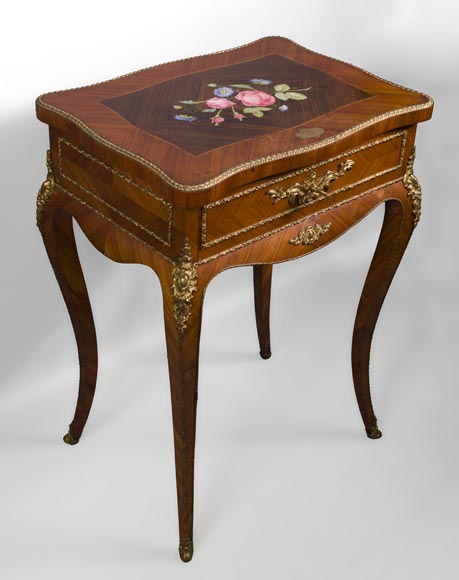 Julien-Nicolas RIVART (1802-1867) - Elegant emblazoned sewing table with decoration of porcelain marquetry-1