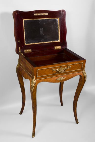Julien-Nicolas RIVART (1802-1867) - Elegant emblazoned sewing table with decoration of porcelain marquetry-3