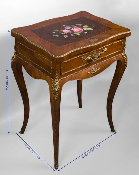 Julien-Nicolas RIVART (1802-1867) - Elegant emblazoned sewing table with decoration of porcelain marquetry-8
