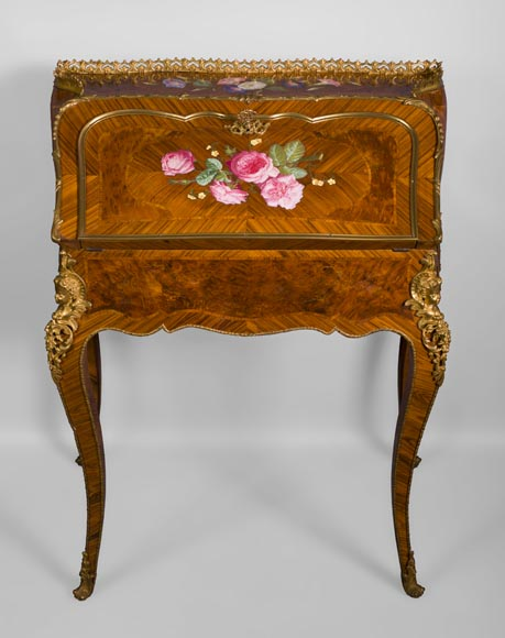Alphonse GIROUX et cie and Julien-Nicolas RIVART (1802-1867) - Gorgeous writing desk with espagnolettes and decoration of roses in porcelain inlays-1