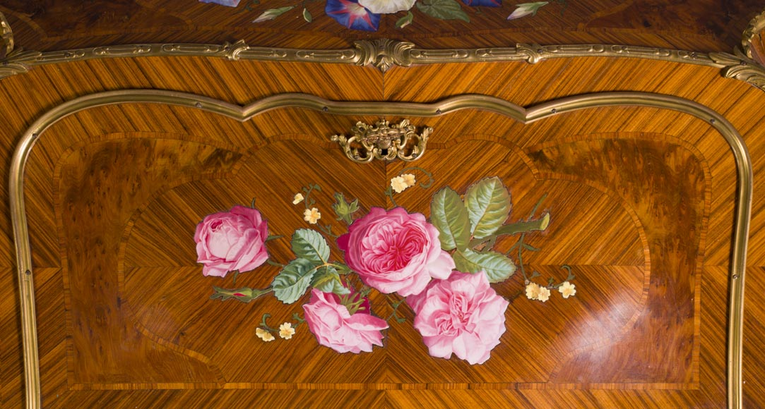 Alphonse GIROUX et cie and Julien-Nicolas RIVART (1802-1867) - Gorgeous writing desk with espagnolettes and decoration of roses in porcelain inlays-2