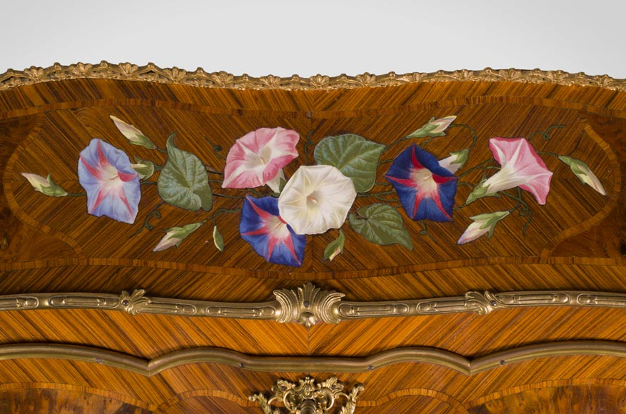 Alphonse GIROUX et cie and Julien-Nicolas RIVART (1802-1867) - Gorgeous writing desk with espagnolettes and decoration of roses in porcelain inlays-3