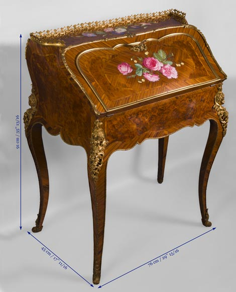 Alphonse GIROUX et cie and Julien-Nicolas RIVART (1802-1867) - Gorgeous writing desk with espagnolettes and decoration of roses in porcelain inlays-8