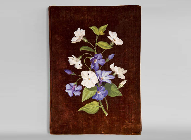 Julien-Nicolas RIVART (1802-1867) - Velvet folder decorated with campanulas in porcelain marquetry - Reference 10722