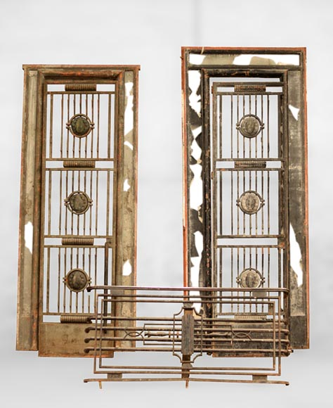 POILLERAT Gilbert - Art Deco pair of doors and window railing, wrought iron and bronze, 1936 - Reference 10723