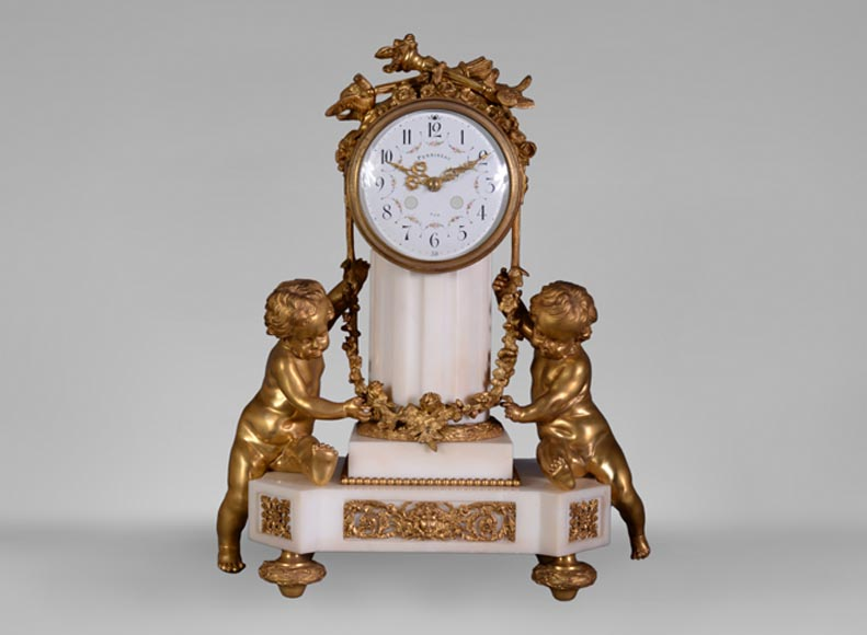 Louis XVI style little clock with putti by Perrineau-0