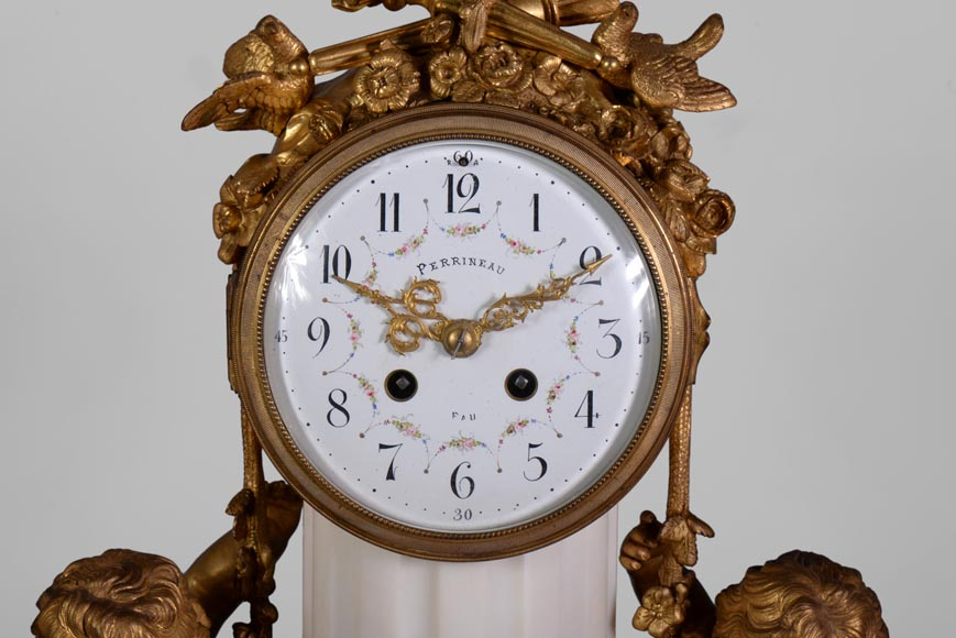 Louis XVI style little clock with putti by Perrineau-1