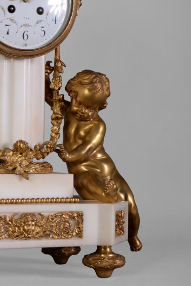 Louis XVI style little clock with putti by Perrineau-3