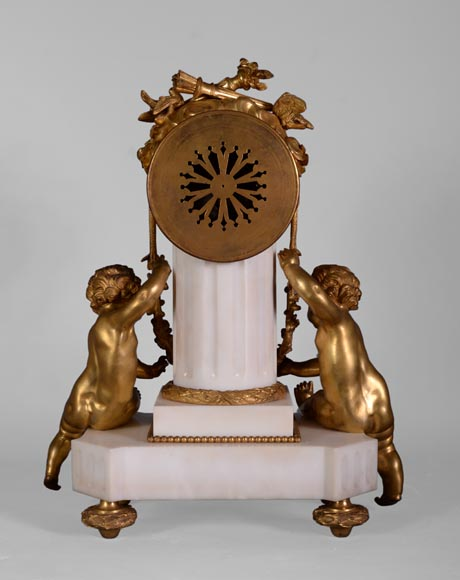 Louis XVI style little clock with putti by Perrineau-11