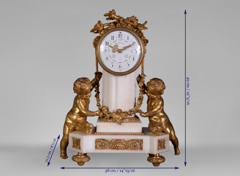 Louis XVI style little clock with putti by Perrineau-12