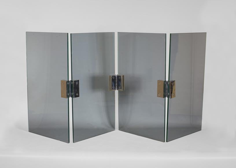 Four-leaf firescreen in glass and chrome-plated metal, 1970s-0