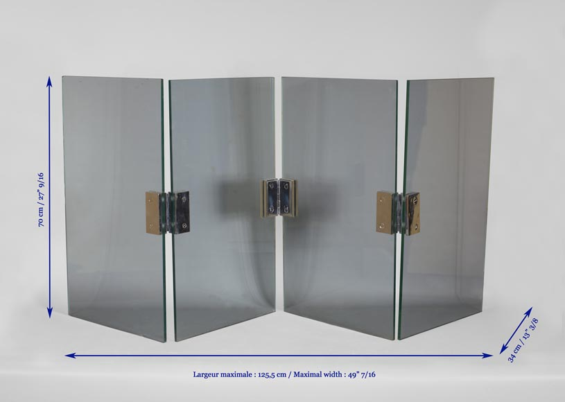 Four-leaf firescreen in glass and chrome-plated metal, 1970s-3