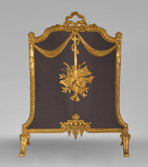 Antique Louis XVI style gilt bronze firescreen with music attributes - Reference 10733