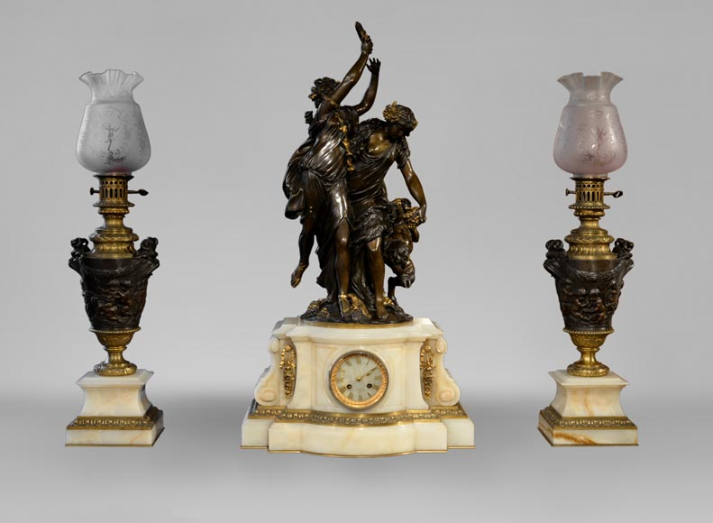 Antique 3 pieces clock set from a sculpted group by Clodion-0