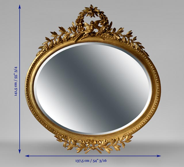 Beautiful antique oval-shaped mirror, Louis XVI style, decor of doves in flight-7