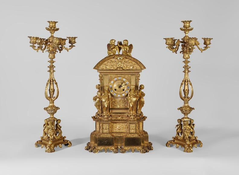 Gilt bronze 19th-century Romantic clock set with the Four Seasons-0
