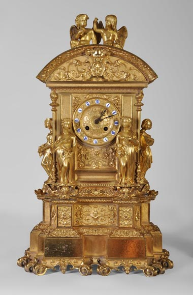 Gilt bronze 19th-century Romantic clock set with the Four Seasons-1