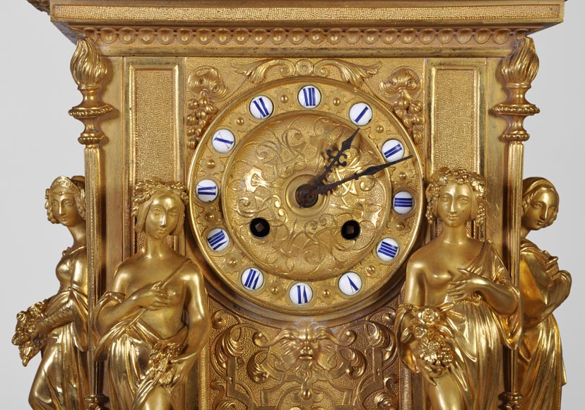 Gilt bronze 19th-century Romantic clock set with the Four Seasons-2